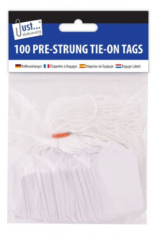100 Pre Strung White Tags 36x53mm